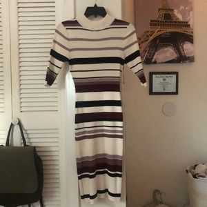 Horizontal Strip Fitted Dress